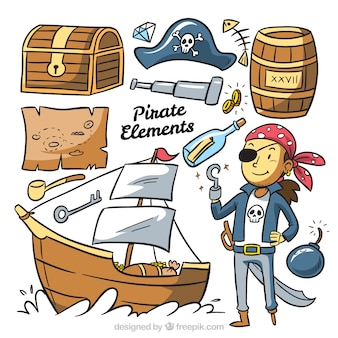 Pirate character collection with hand drawn elements