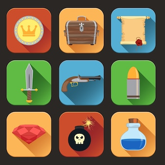 Pirate elements icons collection