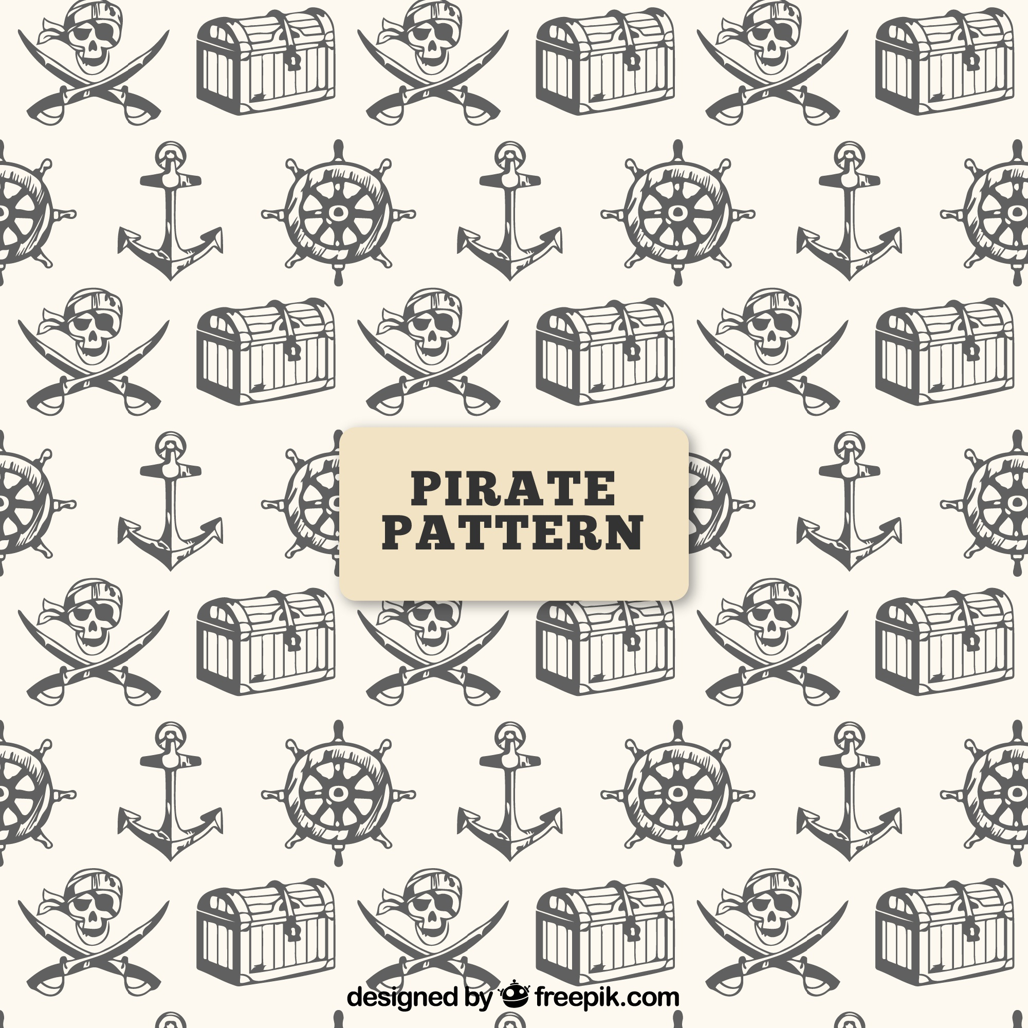 Pirate pattern with hand drawn objects