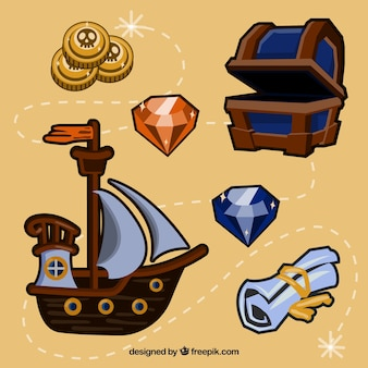 Pirate ship and other elements