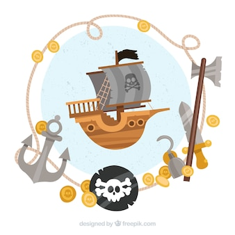 Pirate ship background and elements in flat design