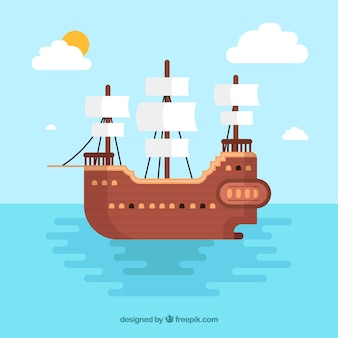Pirate ship background in flat design