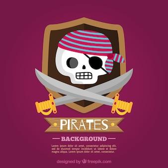 海賊の頭蓋骨の背景と剣