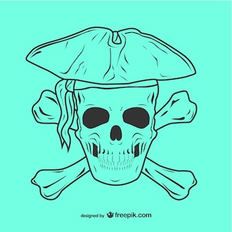 Pirate skull icon illustration