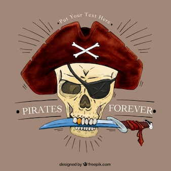 Pirate skull with a knife background