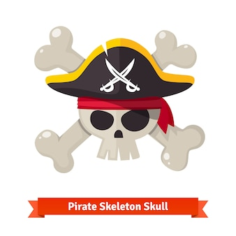 Pirate skull with crossed bones in black hat