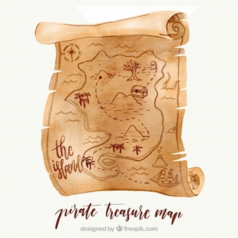 Pirate treasure map in watercolor style