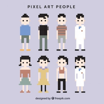 Pixelated characters