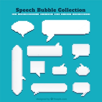 Pixelated dialogue balloons of different shapes