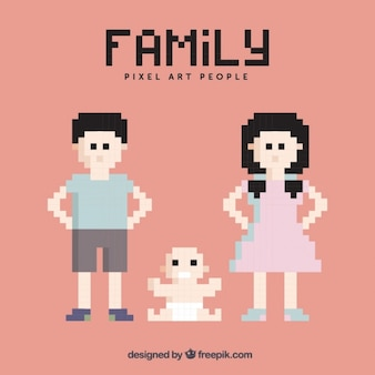 Pixelated family characters