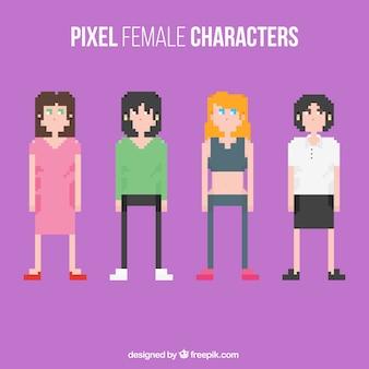 Pixelated female characters