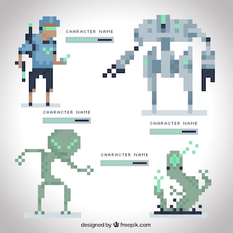 Pixelated futuristic video game pack