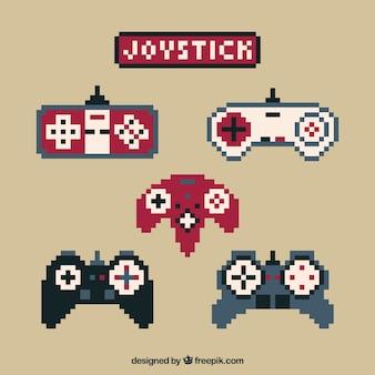 Pixelated video game joysticks