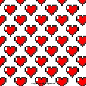 Pixeled hearts pattern