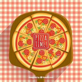 Pizza background with checkered tablecloth