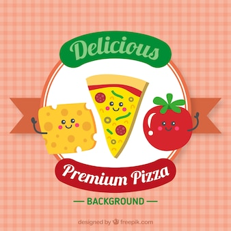 Pizza background with nice characters