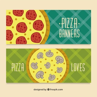Pizza banners with ingredients