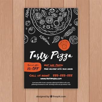 Pizza brochure with drawings