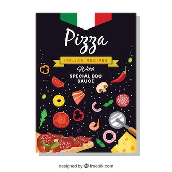 Pizza brochure with ingredients