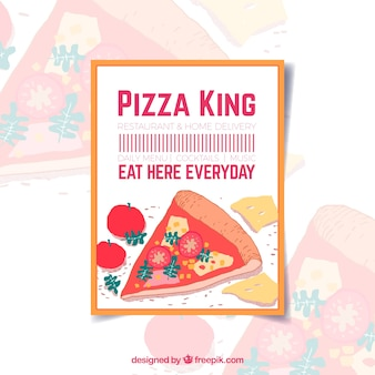 Pizza brochure with text  eat here everyday