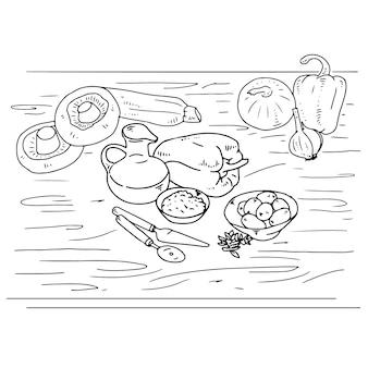 элементы пиццы ингредиенты ручной чертеж линейный вектор