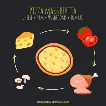 Pizza ingredients on a black background