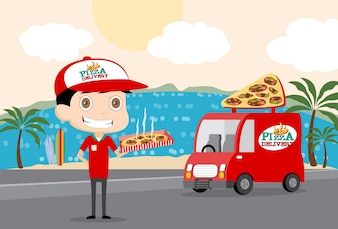 Pizza man and his truck