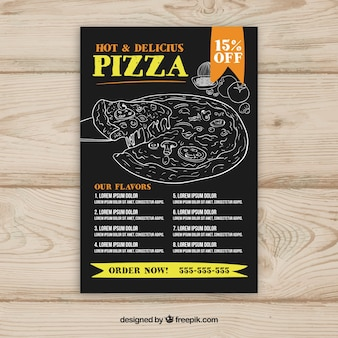 Pizza menu template with drawings