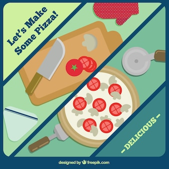 Pizza preparation background in flat design