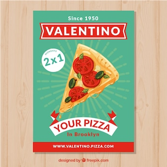 Pizza restaurant brochure with offer