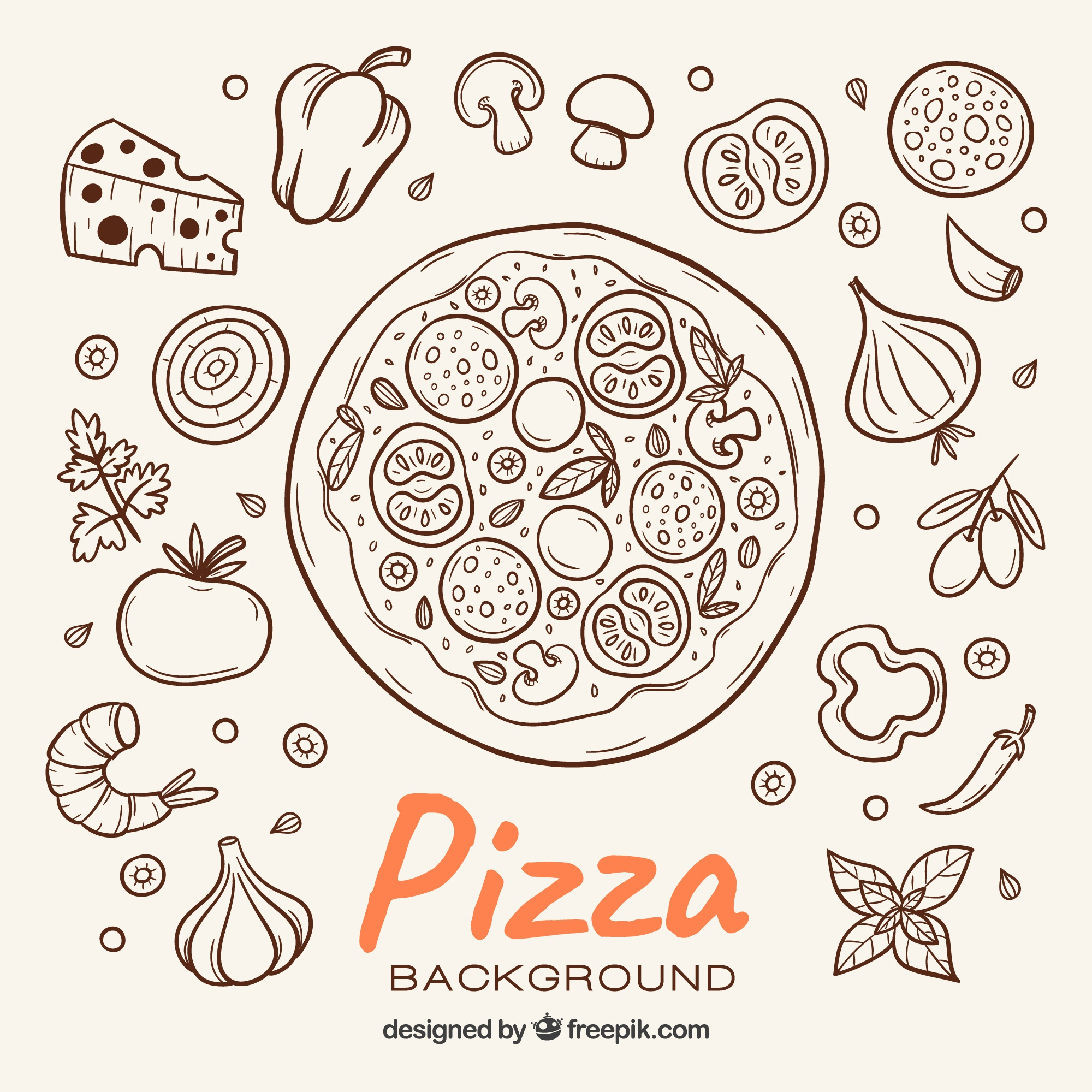 Pizza sketch background and ingredients