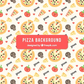 Pizzas and ingredients background