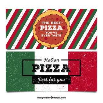 Pizzeria banners in retro style