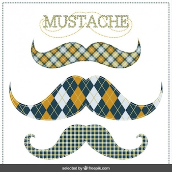 Plaid hipster mustaches collection