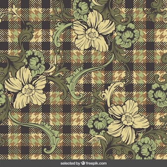 Plaid pattern with ornamental flowers