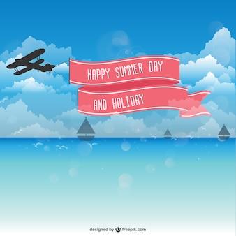 Plane ribbon sky vector