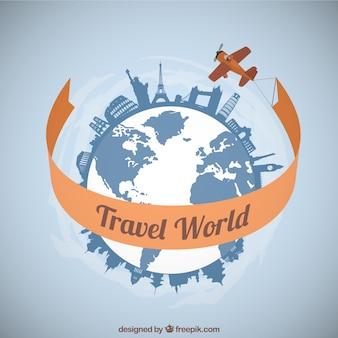 Plane traveling around the world