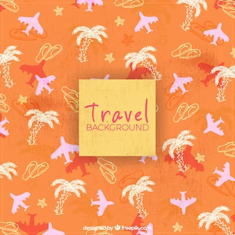 Planes and palm trees pattern background