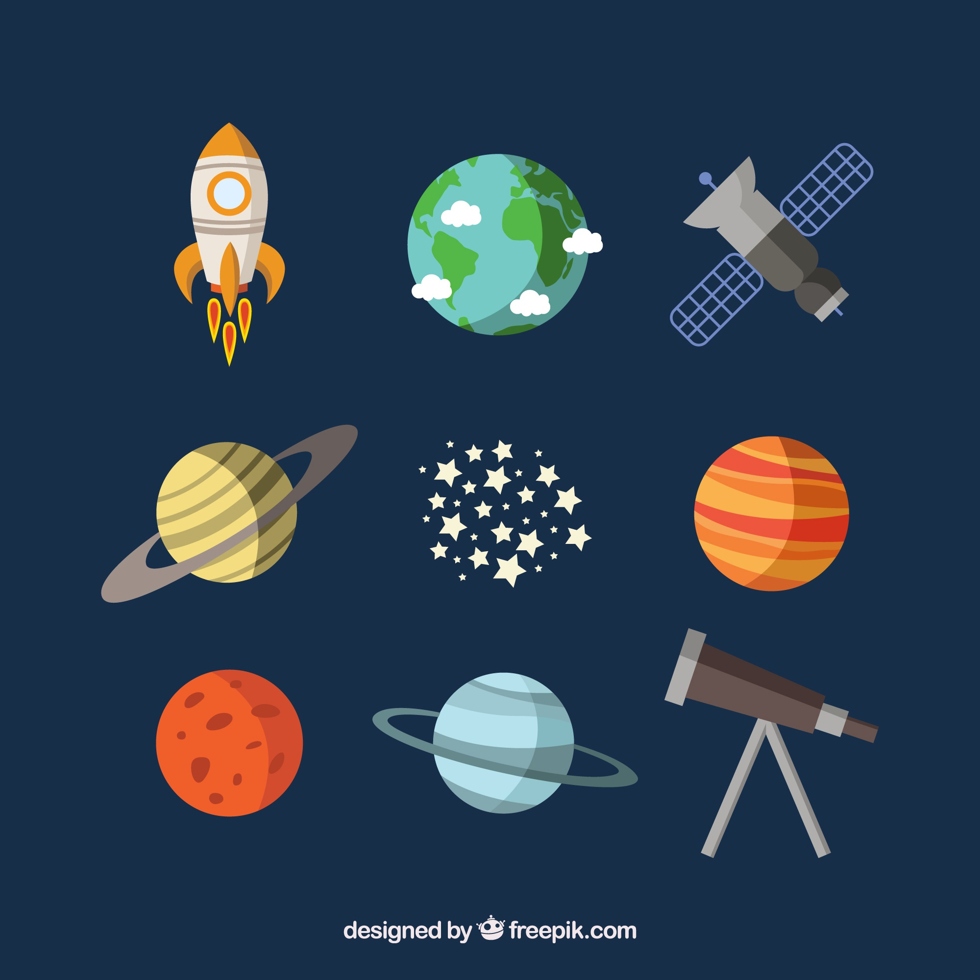 Planets, a satellite and a telescope