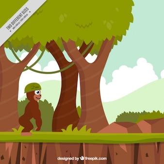 Platform video gamebackground of gorilla in the jungle