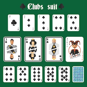 Playing cards clubs suit set joker and back isolated vector illustration