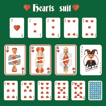 Playing cards hearts red suit set joker and back isolated vector illustration
