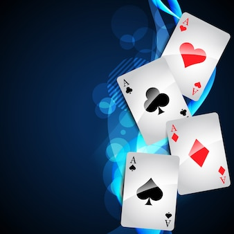 Playing cards on glowing blue background