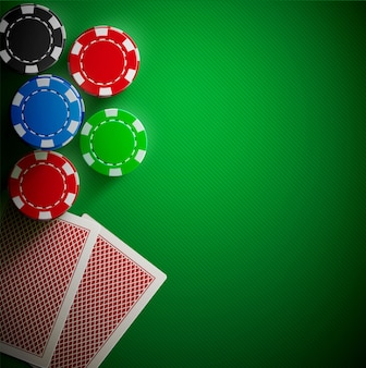 Poker table cards and chips realistic theme