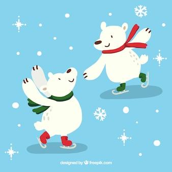 Polar bears skating