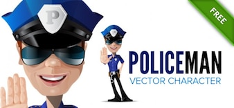 Policeman character with stop gesture