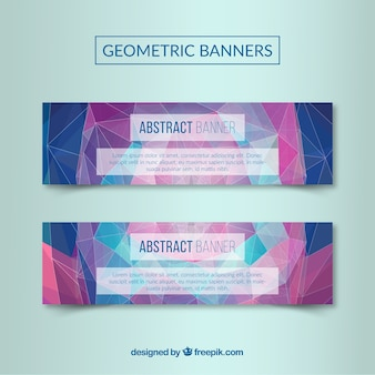 Poligonal abstract banners in blue and purple colors