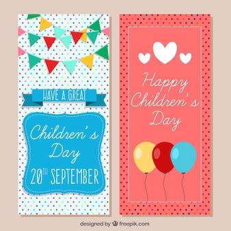 Polka dot card of children's day celebration