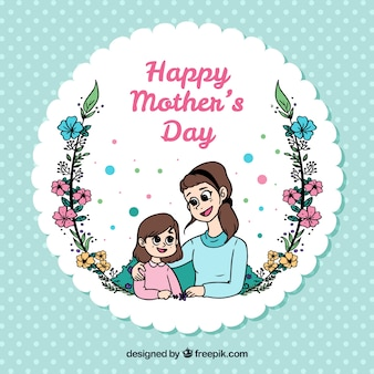 Polka dots background with happy mother and daughter