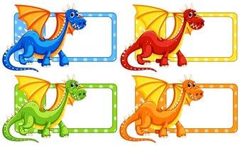 Polkadot labels with wild dragon illustration